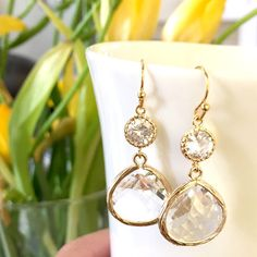 ROSE GOLD EARRING Wedding Earrings Drop bridesmaid by LaLaCrystal