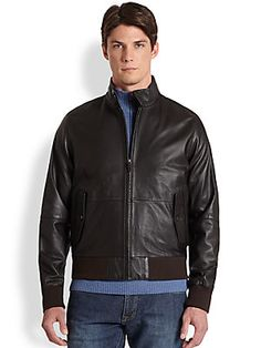 Faconnable Leather Bomber Jacket