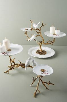 gold home accessories Lovebirds Decorative Tray by Anthropologie in White, Serveware