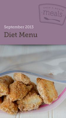 Diet September 2013 Freezer Menu- Cook a month's worth of meals in one day. Includes nutritional info (WW Plus Points), grocery list, instructions, and printable labels. #freezercooking #diet #oamc