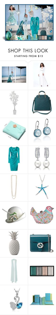 """Aqua"" by bren-johnson ❤ liked on Polyvore featuring Bebe, Marc Jacobs, Goshwara, Versace, Allurez, Kenneth Jay Lane, La Preciosa, La Regale, Bloomingville and Gucci"