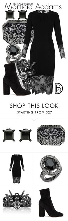 """""""Morticia Addams"""" by leslieakay ❤ liked on Polyvore featuring Judith Leiber, Whistles, Oscar de la Renta, BERRICLE, Valentino, Halloween and addamsfamily"""