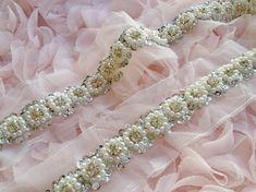 Rhinestone Trim and Ivory Pearl with Sequins Beaded Trim for Bridal,  Wedding Sash, Belts, Jewelry