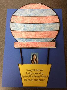 Oh The Places You'll Go: After reading the book, the students wrote about what they wanted to be when they grew up.  They also made this fun craft.  Underneath the hot air balloon is the student's writing.