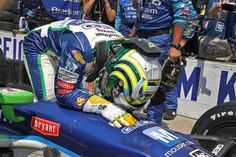 Tony Kanaan puts his head on his car when getting out, after the 96th running of the Indy 500 at the Indianapolis Motor Speedway, Sunday, May 27, 2012. Kanaan lead the race but was overtaken to lose to Dario Franchitti. He finished third. Kerry Keating / The Star