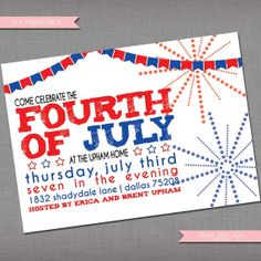 DIY Printable Fourth of July Invitation - Independence Day Party Invitation