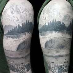 Black Work Half Sleeve Underwater Scene And Lake Tattoo On Male
