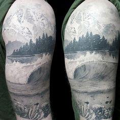 Black Work Half Sleeve Underwater Scene And Lake Tattoo On Male