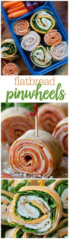 Flatbread Wrap Bites - these pinwheels are perfect for lunch! From Pepperoni Pizza to Ham & Swiss the options are endless!