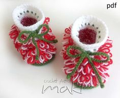 Crochet pattern - Christmas booties - Little Santa Helper Baby Booties