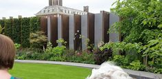 The Chelsea Barracks Garden. Bronze uprights filled with basalt or hedging and the perfect lawn. Rhs Flower Show, Lawn, Chelsea, Sidewalk, Bronze, Seasons, London, Garden, Flowers