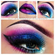 Love bright and bold Eye make-up Cute Makeup, Pretty Makeup, Makeup Geek, Hair Makeup, Fox Makeup, Alien Makeup, Devil Makeup, Crazy Makeup, Makeup Kit