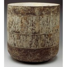"""Large Claude Conover jardiniere/vessel, glazed stoneware, cylindrical shape with incised designs, signed """"Claude Conover"""", 16""""dia x 17""""h"""