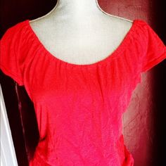 Hot pink shirt Cotton hot pink shirt with side ruching American Eagle Outfitters Tops Tees - Short Sleeve