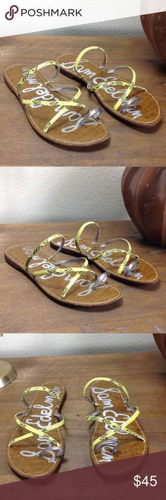 Sam Edelman Yellow & Silver Leather Strap Sandals Slide In sandals with yellow leather snakeskin embossed straps and silver toe ring. Features cushioned insoles. In excellent condition with no visible scratches or marks. Thanks for your interest!  Please checkout the rest of my closet. Sam Edelman Shoes Sandals