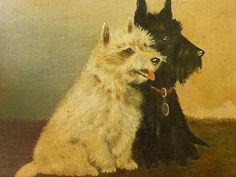 Antique Original C 1920 Oil Painting Dogs Scottie Westie Terriers Framed Picture | eBay