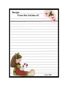 Recipe Card - Large, girl with candycane