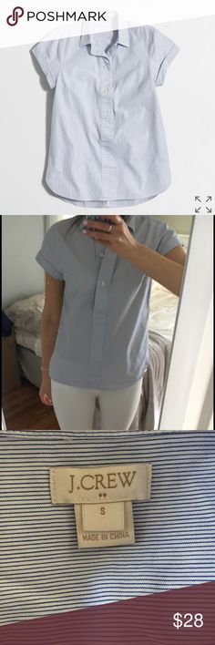 J Crew popover shirt J Crew Striped short-sleeve popover shirt. Light blue/white. Size Small. Great condition! J. Crew Tops