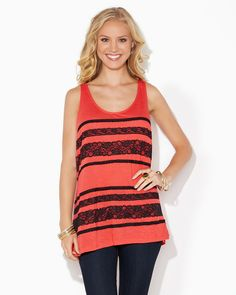 charming charlie | Zip It Lace Tank | UPC: 3000661464 #charmingcharlie