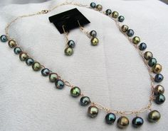 pearls and gold necklace and earring set, peacock black and green gold fresh water pearls