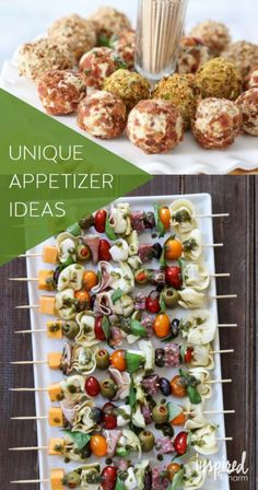 Unique Appetizer Ideas! Love this collection of entertaining recipes: antipasto kabobs, mini cheese balls, and MORE!