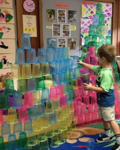 Spring Preschool Activities:  Building Structures With Colored Plastic Cups (super inexpensive and absolutely beautiful.)