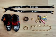 """@PharrellWilliams' Essentials including the customized """"Chanel"""" Timberlands that he is wearing in the GAP Hong Kong ad - Photo Credit: Hypebeast    Read more: http://globalgrind.com/style/pharrell-gap-hong-kong-ad-campaign-photos#ixzz1tmfJ1lp4"""