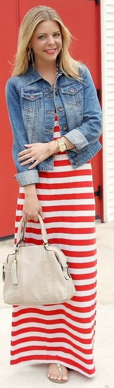 Forever 21 White And Red Striped Maxi Dress by Because Shanna Said So