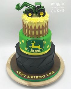 3 tier John Deere tractor cake - a farmers dream cake Farmer Birthday Cake, 30th Birthday Cakes For Men, Tractor Birthday Cakes, Tractor Cakes, 2nd Birthday, Wiggles Cake, Cake Competition, Deer Cakes, Dad Cake