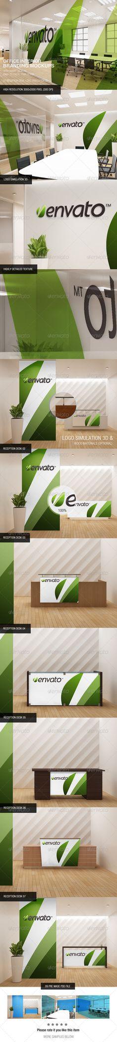 Office Interior Branding Mockups PresentationInterior Design LogosRetro