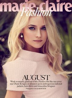 Diane Kruger retro bombshell Marie Claire UK Aug13 by David Roemer cover