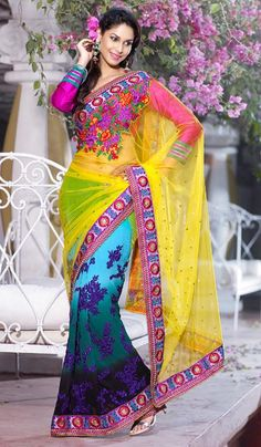 G3 fashions Multicolored Net Georgette Embroidered Wedding wear Saree  Product Code : G3-LS11827 Price : INR RS 4608