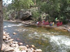 Dipping Toes in Big Thompson River - Estes Park