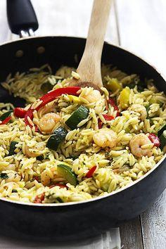 Shrimp & Veggie Orzo with Pesto Vinaigrette FoodBlogs.com