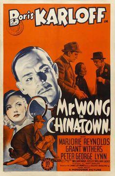 "Cartaz vintage do filme B ""Mr. Wong in Chinatown"""