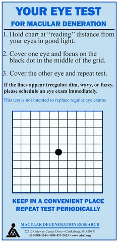 To discover any changes to your vision as early as possible, your eye care professional will probably have you test your own vision on a regular schedule using a small, hand-held Amsler grid.  He or she may also do this at the office. At home, you will hold the chart at reading distance in good light, cover one eye, and focus on a black dot in the middle of the grid, then repeat with the other eye. If the lines of the grid appear dim, irregular, wavy, or fuzzy, schedule an eye exam…