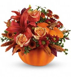 Send Thanksgiving flowers to family and friends, hand-delivered by a local florist. The top Thanksgiving flowers are orange roses, lilies, and yellow sunflowers. Pumpkin Centerpieces, Thanksgiving Centerpieces, Centerpiece Ideas, Wedding Centerpieces, Fall Flowers, Wedding Flowers, Flowers Pics, Summer Flowers, Teleflora Flowers