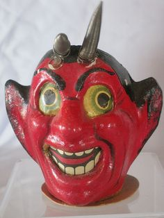 Vintage Halloween Collectible ~ Devil w/ Slinky Type Horns * Made in Germany