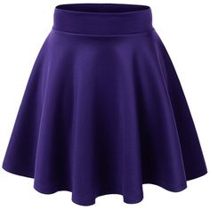 MBJ Womens Basic Versatile Stretchy Flared Skater Skirt ($6.89) ❤ liked on Polyvore featuring skirts, saias, blue skater skirt, blue circle skirt, flared skirt, stretch skirt and skater skirt