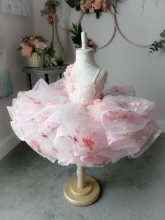 Cherry Blossoms Dress by Anna Triant Couture Little Girl Gowns, Gowns For Girls, Dresses Kids Girl, Kids Outfits, Cherry Blossom Dress, Cherry Blossom Wedding, Cherry Blossoms, Baby Pageant Dresses, Party Dresses