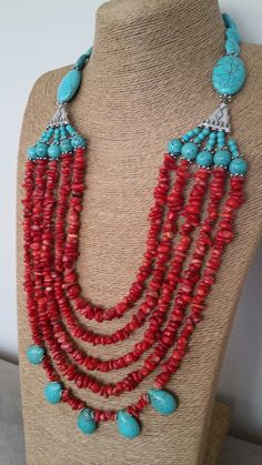 Lenü Jewellery Coral Turquoise, Turquoise Jewelry, Gemstone Jewelry, Beaded Jewelry, Jewelry Necklaces, Beaded Necklace, Handmade Necklaces, Handmade Jewelry, Diy Jewelry Making