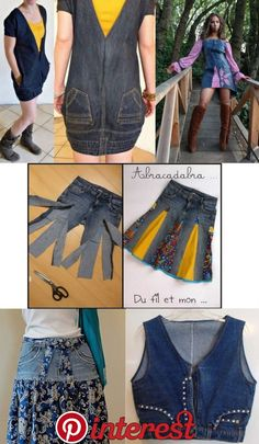 New facial jeans! Many utilities! – Refashion with Seenja New facial jeans! Many utilities! – Refashion with Seenja – - Jeans Refashion, Diy Clothes Refashion, Refashioned Clothes, Cut Shirt Designs, Denim Ideas, Denim Crafts, Love Jeans, Amo Jeans, Recycled Denim