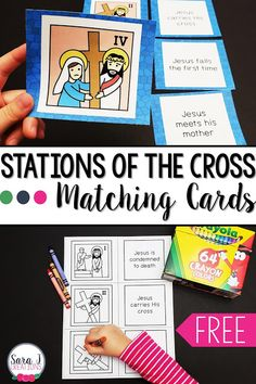 Check out these FREE printable Stations of the Cross matching cards and ideas for additional activities for kids to do with the cards. A great way to help Catholic children with prayer and reflection of the death of Jesus Christ especially during Lent. Holy Week Activities, Ccd Activities, Religion Activities, Teaching Religion, Religion Catolica, Easter Activities, Educational Activities, Summer Activities, Catholic Lent
