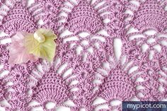 MyPicot   Free crochet patterns... Lace pineapple crochet stitch.. Free pattern and step-by-step tutorial!!