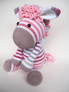 Lieve roze zebra, gehaakt aan de hand van het patroon voor Alex Ezel van KNUFL.  Cute crocheted pink zebra. Made by KNUFL, based on Donkey Alex pattern  https://www.etsy.com/nl/listing/461489958/haakpatroon-alex-ezel?ref=shop_home_active_4