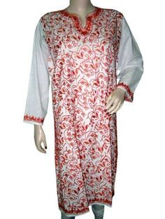 White Tunic Blouse Dress for Womens Red Floral Embroidered Long Kurti Tunic L Mogul Interior,http://www.amazon.com/dp/B00BPLS4AQ/ref=cm_sw_r_pi_dp_1ijwrb0CDCA4478C