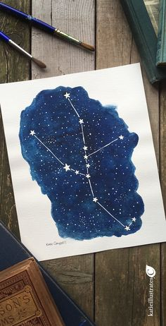 Original Taurus constellation painting, one of a kind. This night sky watercolor illustration would be great for a Taurus or Zodiac lover, or an amateur astronomer who loves to study the stars. #taurus #constellation #aquarelle #zodiacsigns #astrology #nightsky #astronomy #stargazing