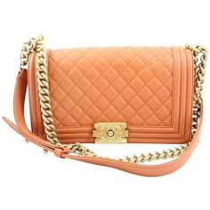 Pre-owned Chanel Shoulder Bag ($4,440) ❤ liked on Polyvore featuring bags, handbags, shoulder bags, orange, orange leather handbag, leather purse, red leather handbag, leather shoulder handbags and red purse