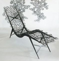mattress spring chair - hi gorgeous! Mattress Springs, Old Mattress, Hi Gorgeous, Butterfly Chair, Garden Sculpture, Upcycle, Unique, Gold, How To Make