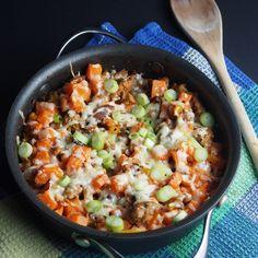 Spiced up sweet potato turkey skillet